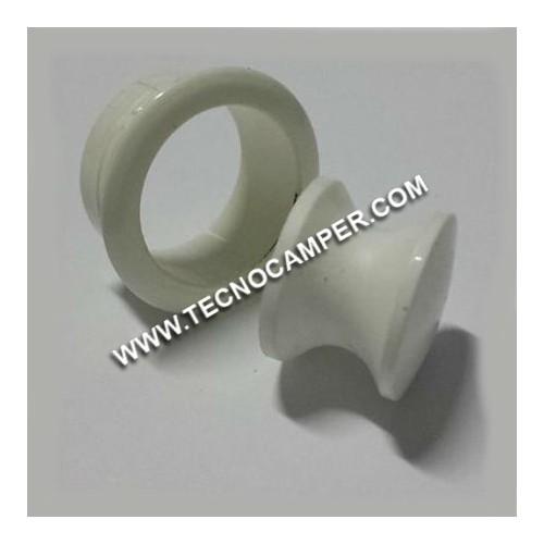 Pomello con rosetta bianco 19 mm