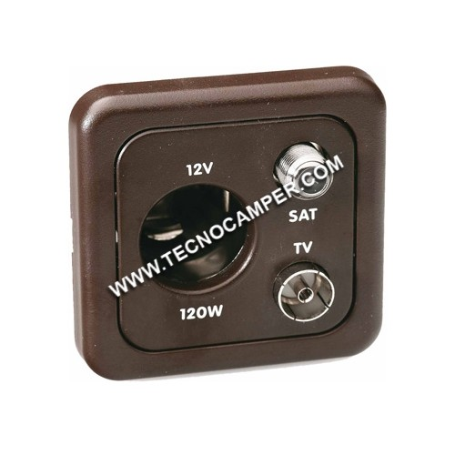 Presa 12 volt auto + TV + SAT grigio