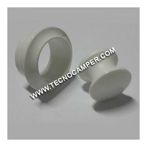 Pomello con rosetta bianco 16 mm